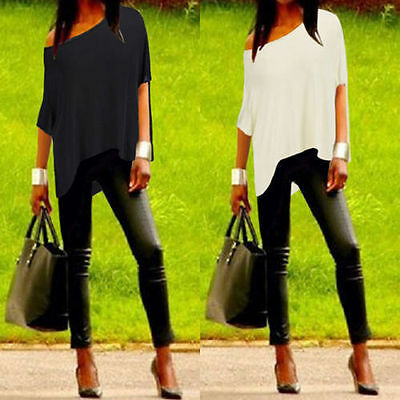 UK Womens Summer Loose Casual Off Shoulder Cotton Tee Shirt Blouse Tops