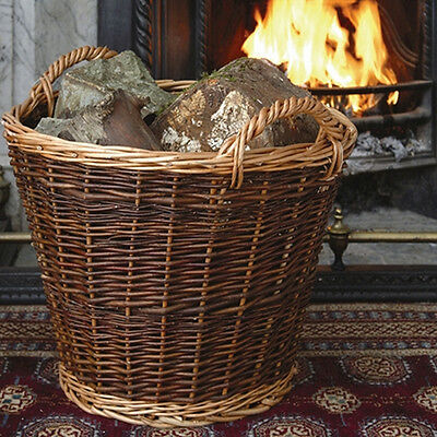 Stow Green Wicker Heavy-Duty Log Basket Large