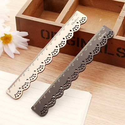 Vintage Cute Lovely Lace Stationery Wood Ruler School Office Sewing Tools Gift H