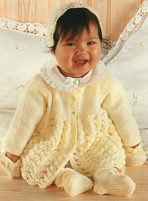 Baby Matinee Coat Bonnet Bootees & Mitts 4 Ply  0 -9 months  Knitting Pattern