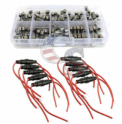 10X Fuse Holder &100X 5x20mm Quick Blow Glass Tube Assorted Kit Fast-blow Glass