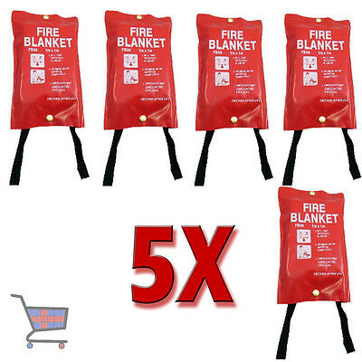 5X Standard Fire Safety Red Quality Cover 1M X 1M Fire Blankets Quick Release