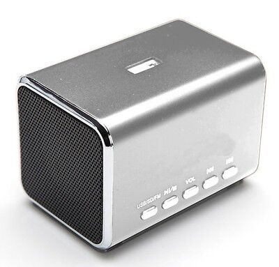 Aluminium Portable Travel Speaker Built-in Battery USB AUX For iPhone MD5 SILVER