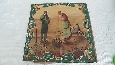 Antique Litho Print PILLOW COVER,THE ANGELUS, Giving Thanks for Harvest, Farmers