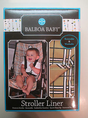 Balboa Baby Reversible Stroller Liner Tan Plaid for 3 and 5 point harness