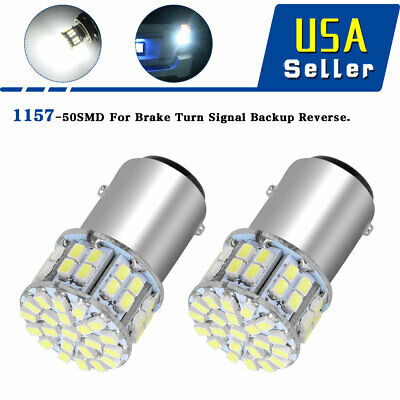 2x 6000K White 1157 High Power 50SMD LED Tail Brake Stop Lights Bulb BAY15D 12V