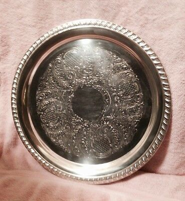 "vintage 69-78 Leonard silver plate 15"" tray Chelsea Mass"