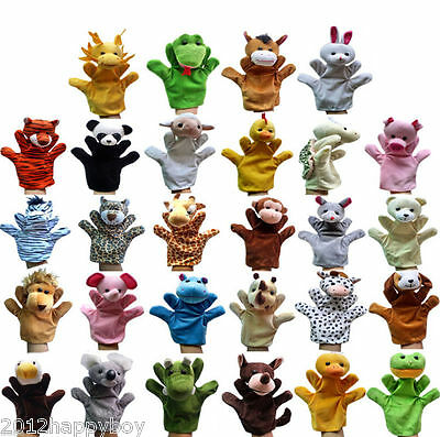 1X Children Family Hand Puppets Cloth Doll Baby Educational Cartoon Animal Toy
