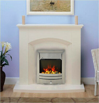 Modern Cream Inset Electric Fire Surround Set Complete Fireplace Package Suite