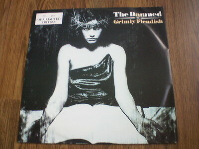 """The Damned - Grimly Fiendish 12"""" White Vinyl Mca 1985 Barely Played Near Mint"""