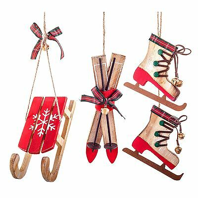 Set of 3 Wooden Skis, Sledge & Skates Hanging Christmas Tree Decorations Red