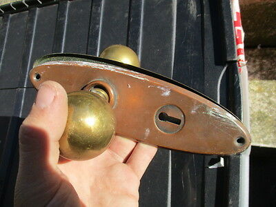 Vintage Brass Door Knobs with Copper Plates Mid Century Salvage Antique Style
