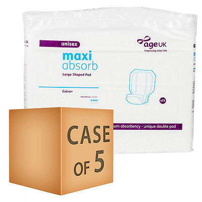 Case Saver 5 x Age UK Large Shaped Pads - Extra Plus (2220ml) Pack of 25