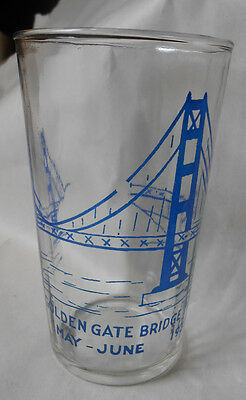 Vintage 1937 San Francisco Golden Gate Bridge Fiesta Glass Tumbler