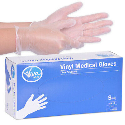 Lightly Powdered Vinyl Disposable Gloves - Small - Box of 100