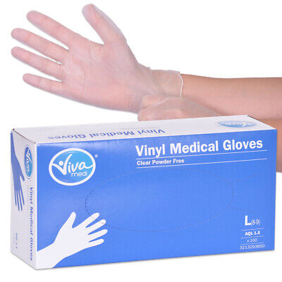 Viva Medi Powder Free Vinyl AQL 1.5 Medical Gloves - Large - Pack of 100