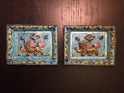 Fine Old PAIR Chinese Enameled Foo Dog Lion Art Ash Trays SIGNED Humidor