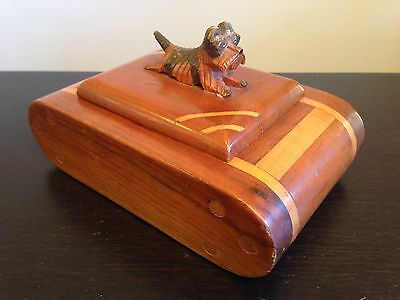 "Vintage 1930s Carved Inlaid Trinket Box Norwich Terrier ""Betty"" Finial Folk Art"