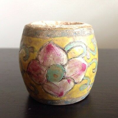 Antique Chinese Famille Rose Barrel Ink Well Brush Water Pot Vine Scroll Flowers