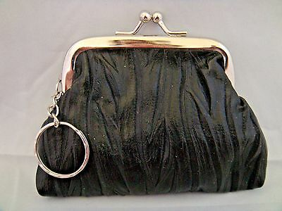 Black change purse coin crinkled vinyl silver metal frame kiss clasp key ring