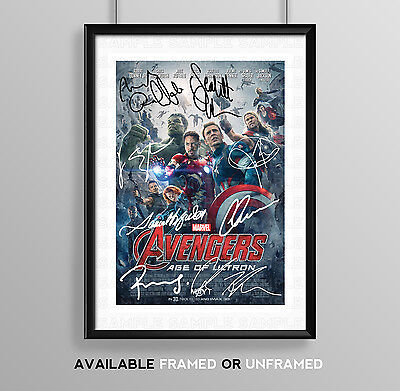 The Avengers Age Of Ultron Cast Signed Autograph Print Poster Photo Movie Film