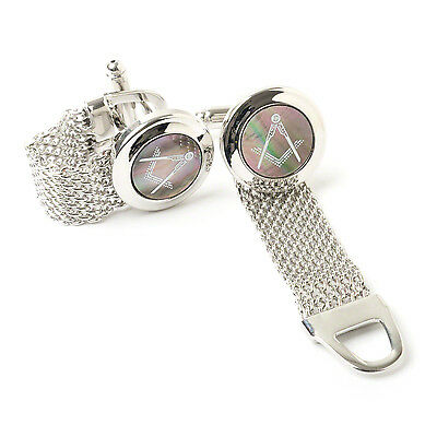 Stunning boxed Masonic Black Onyx Cufflinks with Silver Chain Strap Craft Gift