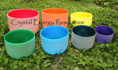 """Chakra Tuned Set of 7 Colored Frosted Quartz Crystal Singing Bowls 8"""" -10"""""""
