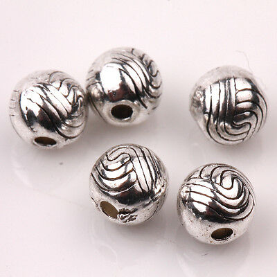 Lots Of 15/30PCS Round Carved Tibetan Silver Loose Spacer Beads Charms 6mm