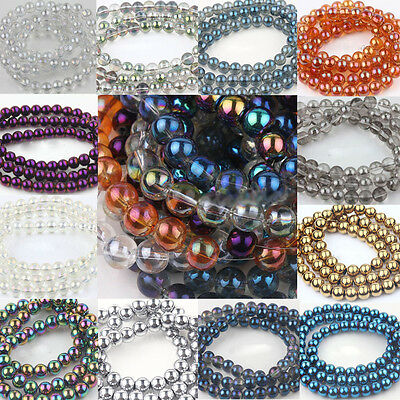 Lots Round AB Czech Crystal Glass Loose Beads Jewelry Finding DIY 6/8/10/12MM