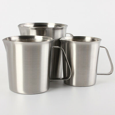 Stainless Steel Milk Jug Pitcher Measuring Frothing Latte Coffee Mug Cup 0.5-1L