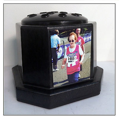 Memorial Photo Plaque Vase, Black Personalised Grave Stone Flower Pot Any Image