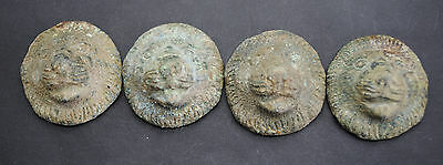 Set Of Four Ancient Lion Head Casket Mount 1St-3Rd Century Ad