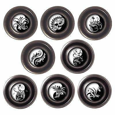 Brass or Pewter Knobs Yin and Yang 32mm Cupboard Drawer Door Handles Decorated