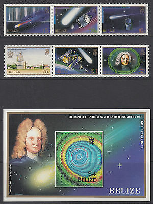 Belize Sc 812-814 MNH. 1986 Halley's Comet cplt incl Souvenir Sheet, VF