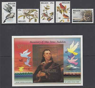 Belize Sc 750-756 MNH. 1985 Audobon Birth Centenary, cplt set, Birds