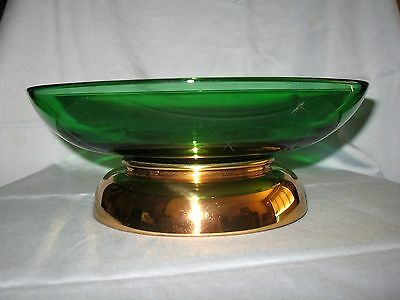 ** HTF ** PADEN City EMERALD Glo SALAD Bowl / GOLD Metal / STAR Etching