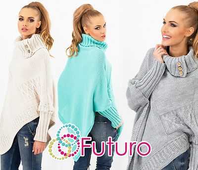 Women's Thick Heavy Poncho Jersey Turtleneck Warm Jumper Sweater Size 8-14 FAS9X