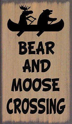 Bear & Moose Crossing Primitive Country Distressed Lodge Sign Home Decor