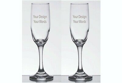 2 Engraved Personalized Customized Wedding Anniversary Champagne Glasses Flutes