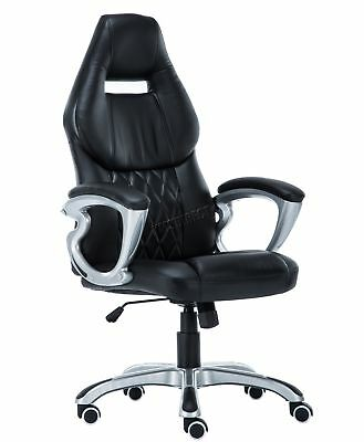 FoxHunter Computer Executive Office Desk Chair PU Leather Swivel OC03 Black New