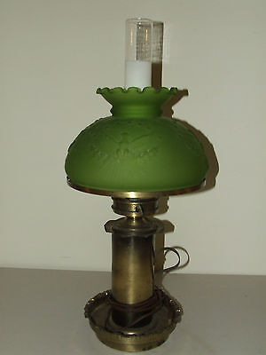 Antique Victorian Colonial Style Table Lamp w/ Patriotic Eagle Green Glass Shade