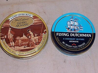 Vintage John Cotton's Danish Aromatic and Flying Dutchman Tobacco Tins