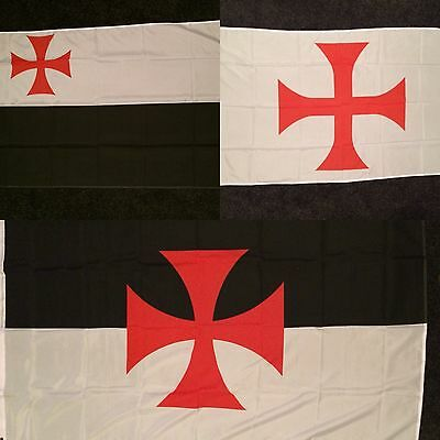 Crusades Flag 5x3 Knights Templar Crusader Red Cross Medieval Holy Order Crusade