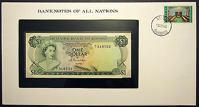 Bahamas $1 - 1974 Uncirculated Banknote enclosed in stamped envelope.