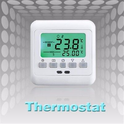 Digital LCD Thermostat Programmable Heating Room Temperature Control Green