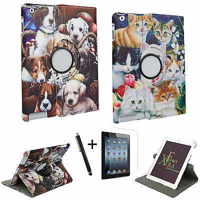 Dog Cat Puppy Kitty Animal Flower Smart Pu Leather 360 Case Cover For Tablets