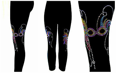 Plus Size Leggings Capri Length Rhinestone Embellished Mardi Gras Party Masks