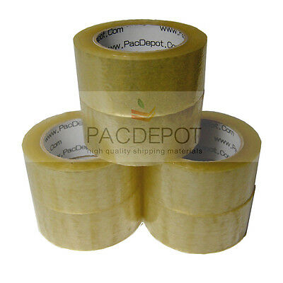 "6 ROLLS Carton Sealing Packing Shipping Tape 2"" x 55 Yards 165' ft 2 Mil Clear"