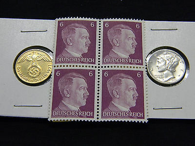 24K Gold Plated Nazi German Swastika Coin AU Mercury Silver Dime Hitler Stamps