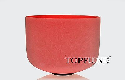 Red  C Root Chakra Frosted Quartz Crystal Singing Bowl 12''+Mallet+O-ring